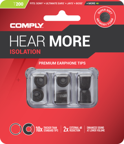 Comply T-200 l black, ear tips, size large, black, 3 paar