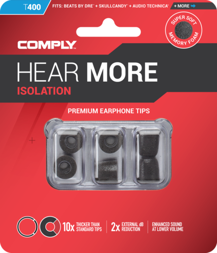 Comply T-400 l black, ear tips, size large, black, 3 paar