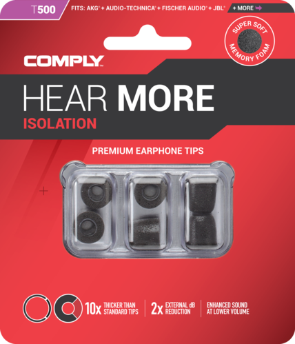 Comply T-500 l black, ear tips, size large, black, 3 paar