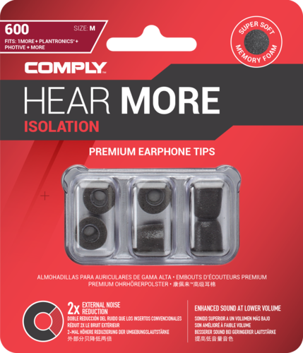 Comply T-600 l black, ear tips, size large, black, 3 paar