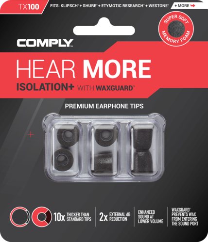 Comply TX-100 l black, ear tips, size large, black, 3 paar