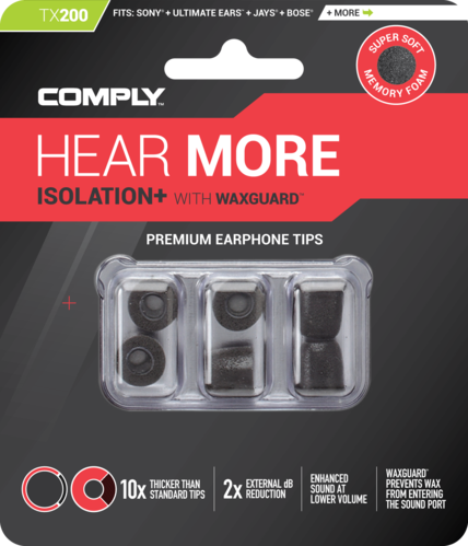 Comply TX-200 l black, ear tips, size large, black, 3 paar